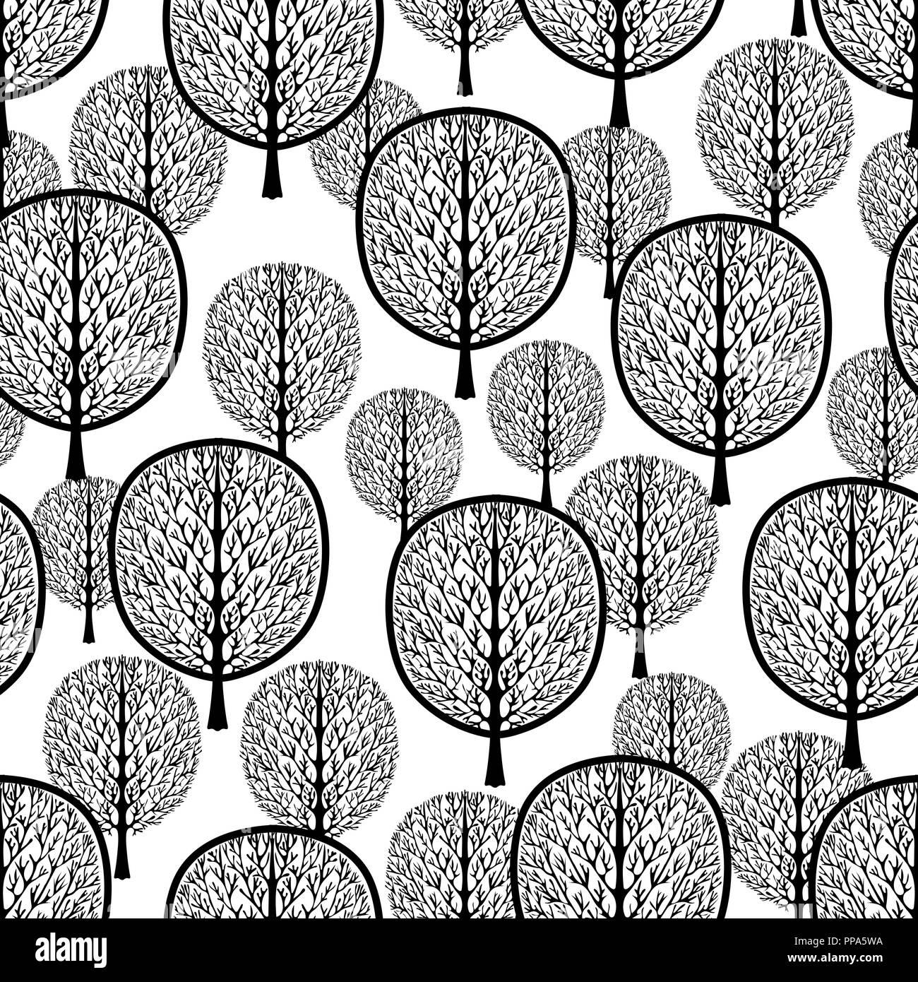 Alberi Astratto Modello Senza Giunture Foresta Stilizzata Vettore