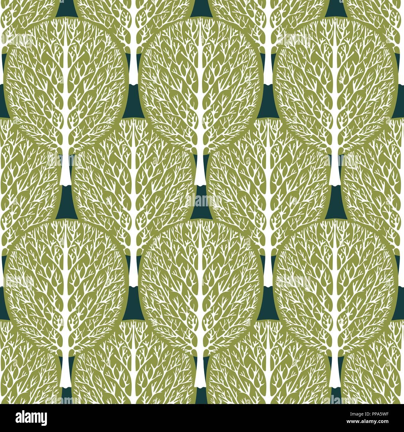 Alberi Astratto Modello Senza Giunture Foresta Stilizzata