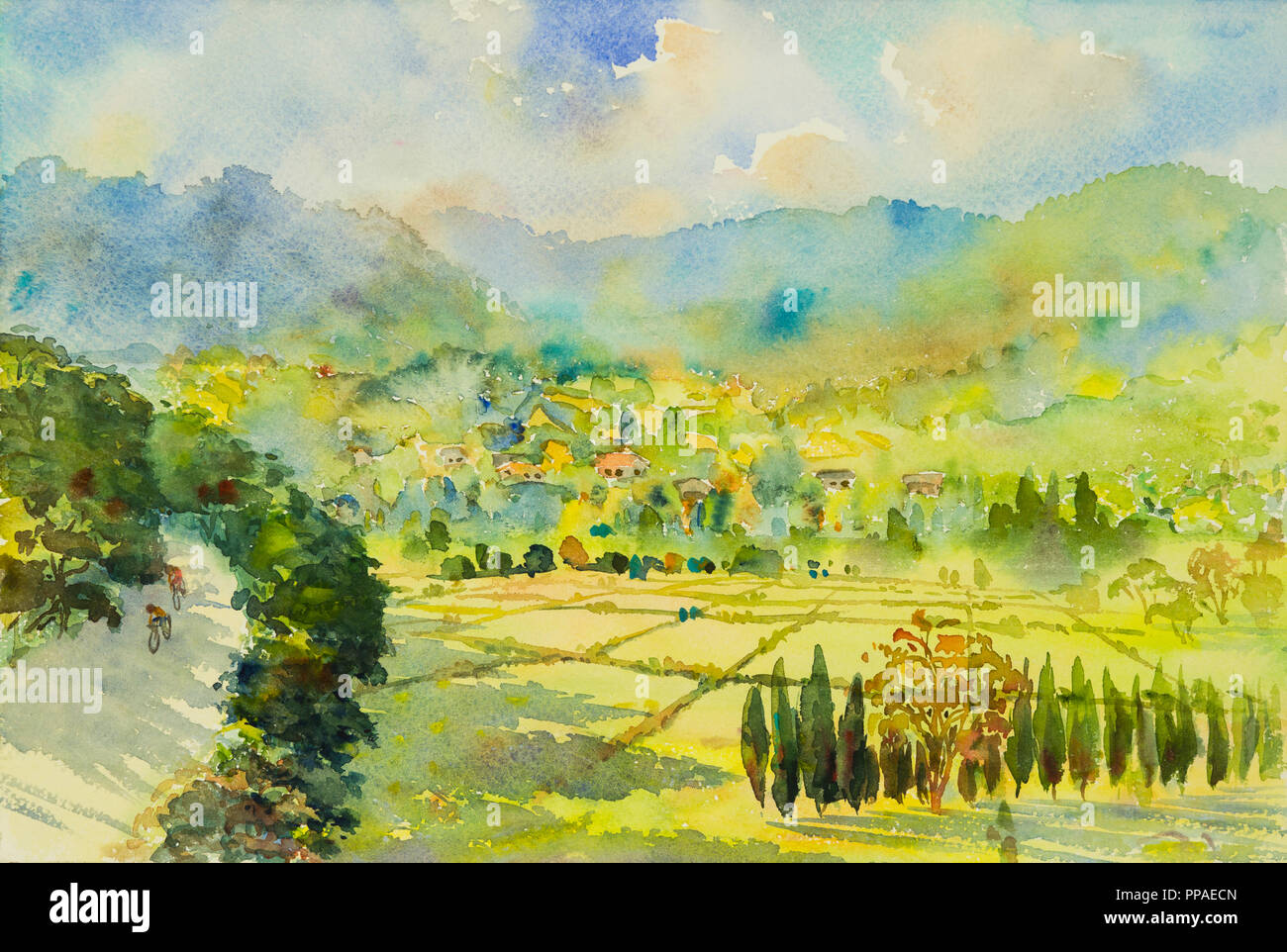 Mountain Landscape Painted Watercolor Immagini Mountain