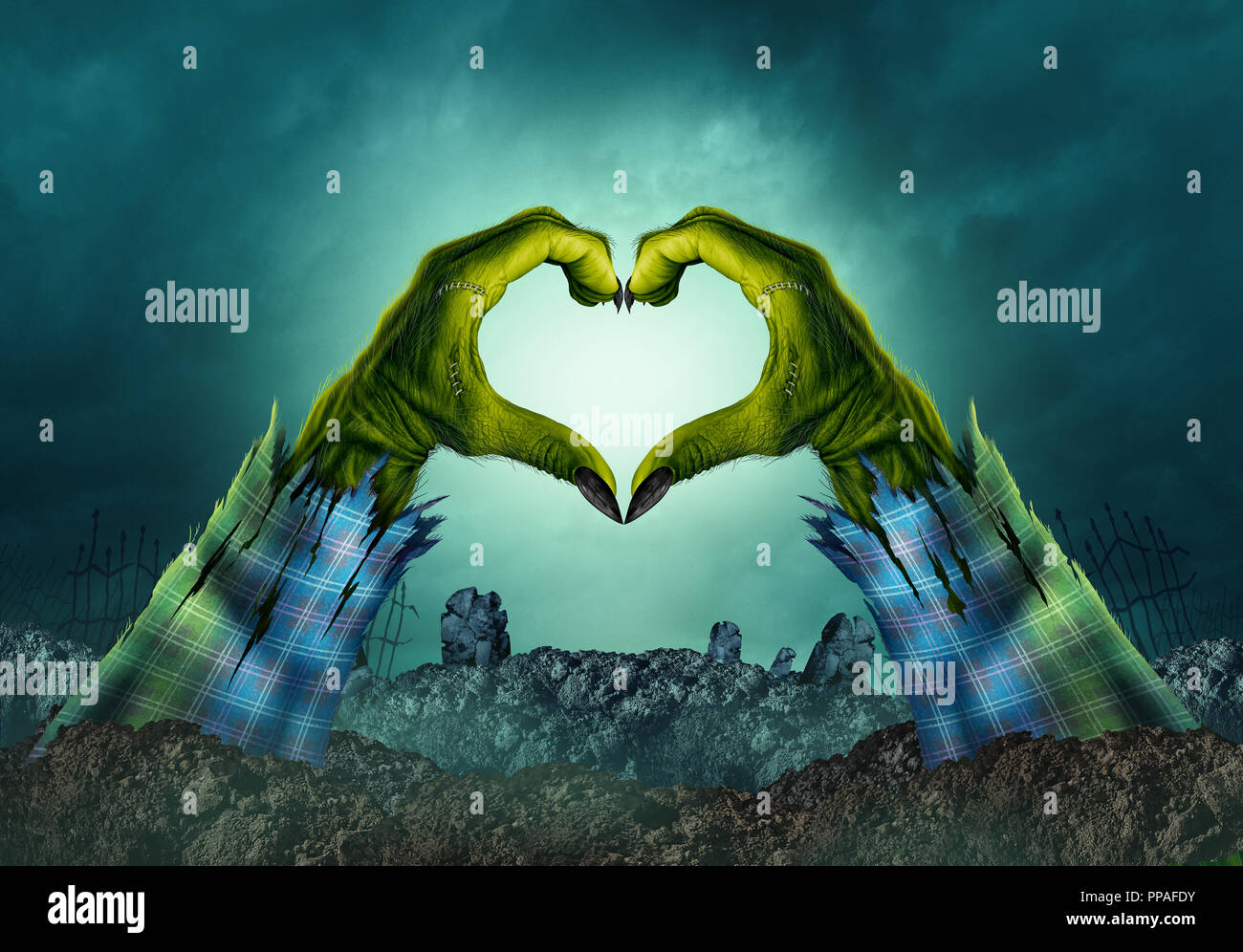 Zombie monster mano sullo sfondo di cuore in una notte creepy cimitero come halloween bracci verde emergente da un cimitero tomba. Immagini Stock