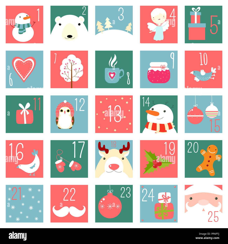 Natale Calendario.Natale Calendario Dell Avvento Con Elementi In Ingenuo