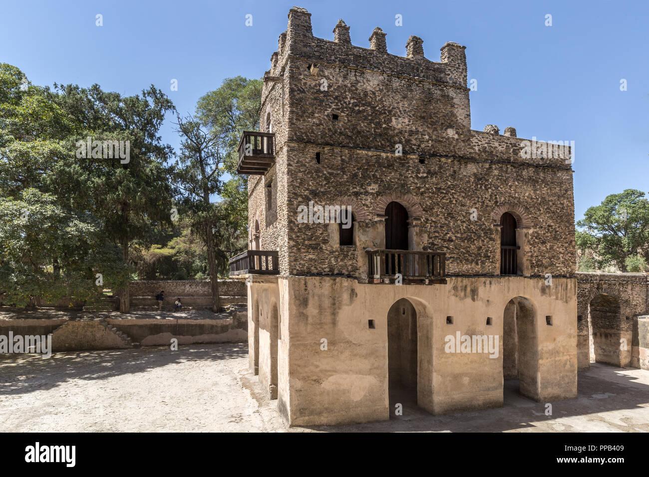 Fasiladas del pool di balneazione, Gonder, Etiopia, Patrimonio Mondiale dell UNESCO Immagini Stock