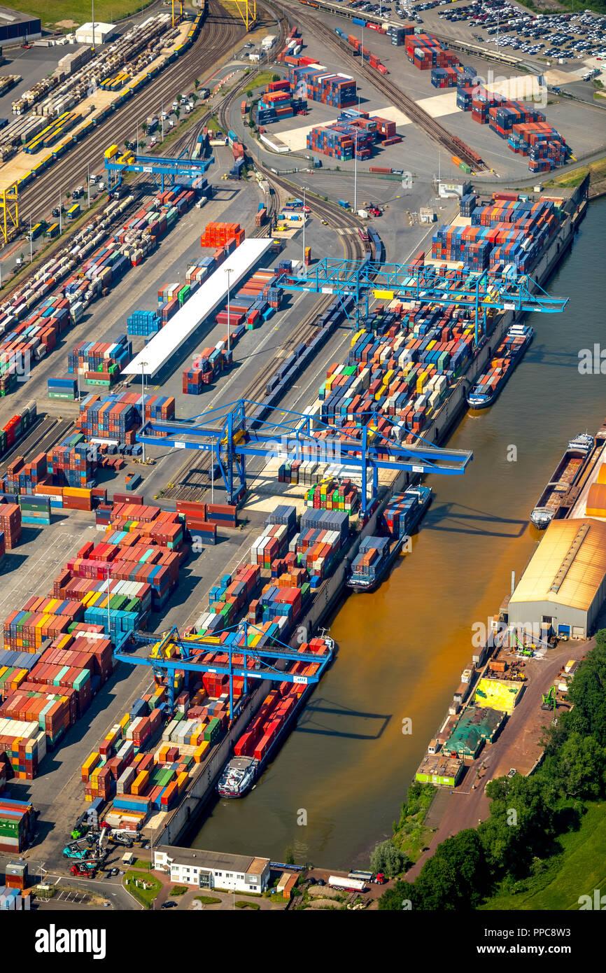 Vista aerea, contenitore a Duisburg porto sul Reno, posizione logistica Logport 1, container port, Rheinhausen, Duisburg Foto Stock
