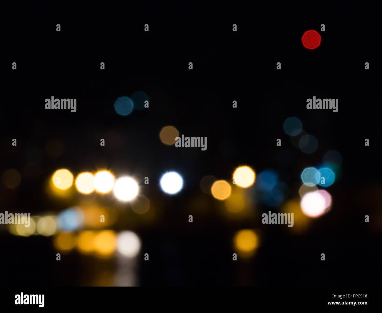 Luci Di Sfondo Astratto Sul Mare Di Notte Foto Immagine Stock
