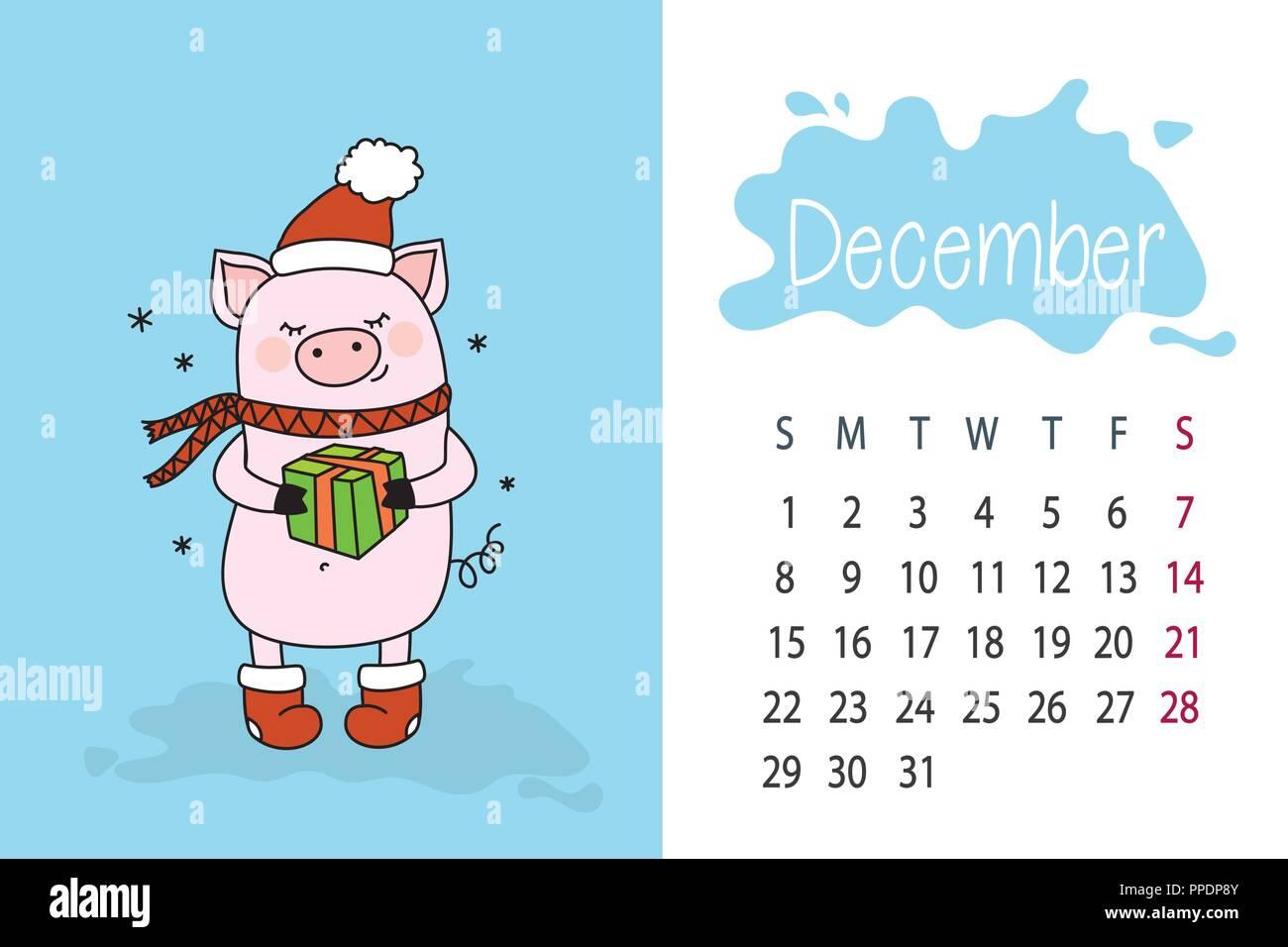 Calendario Mese Dicembre 2019.Mese Dicembre 2019 Anno Calendario Pagina Con Cute Di Maiale
