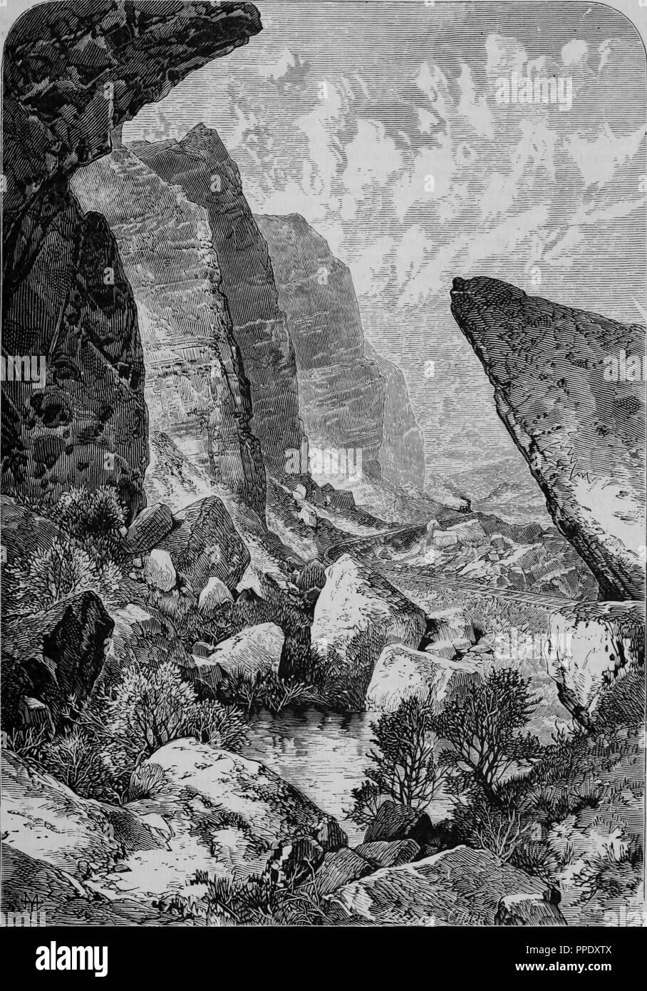 """Incisione di scogliere di Echo Canyon dello Utah, dal libro """"Pacifico turisti"""", 1877. La cortesia Internet Archive. () Immagini Stock"""