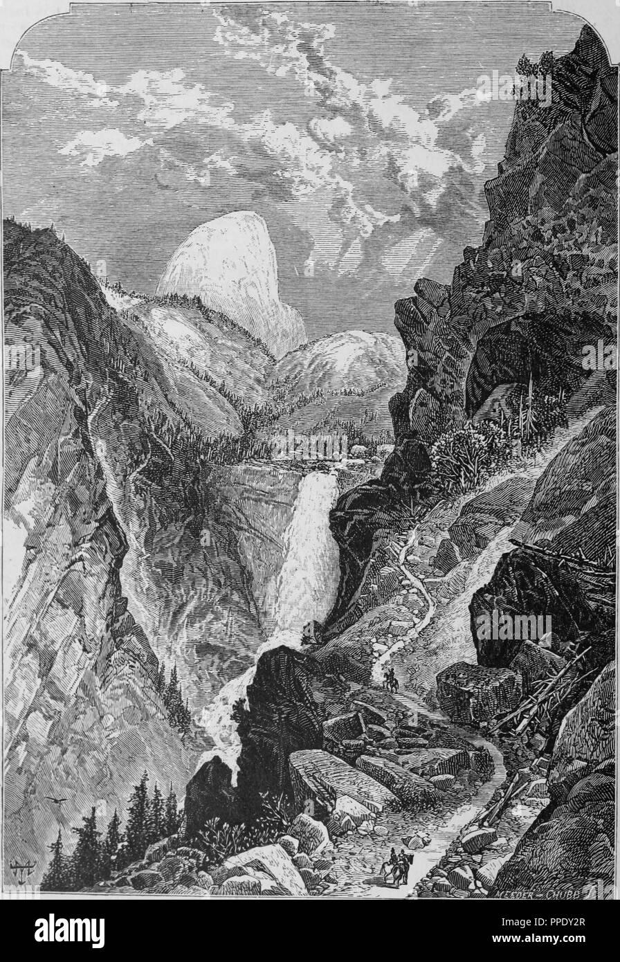 """Incisione del primaverile cade in Yosemite in California, dal libro """"Pacifico turisti"""", 1877. La cortesia Internet Archive. () Immagini Stock"""