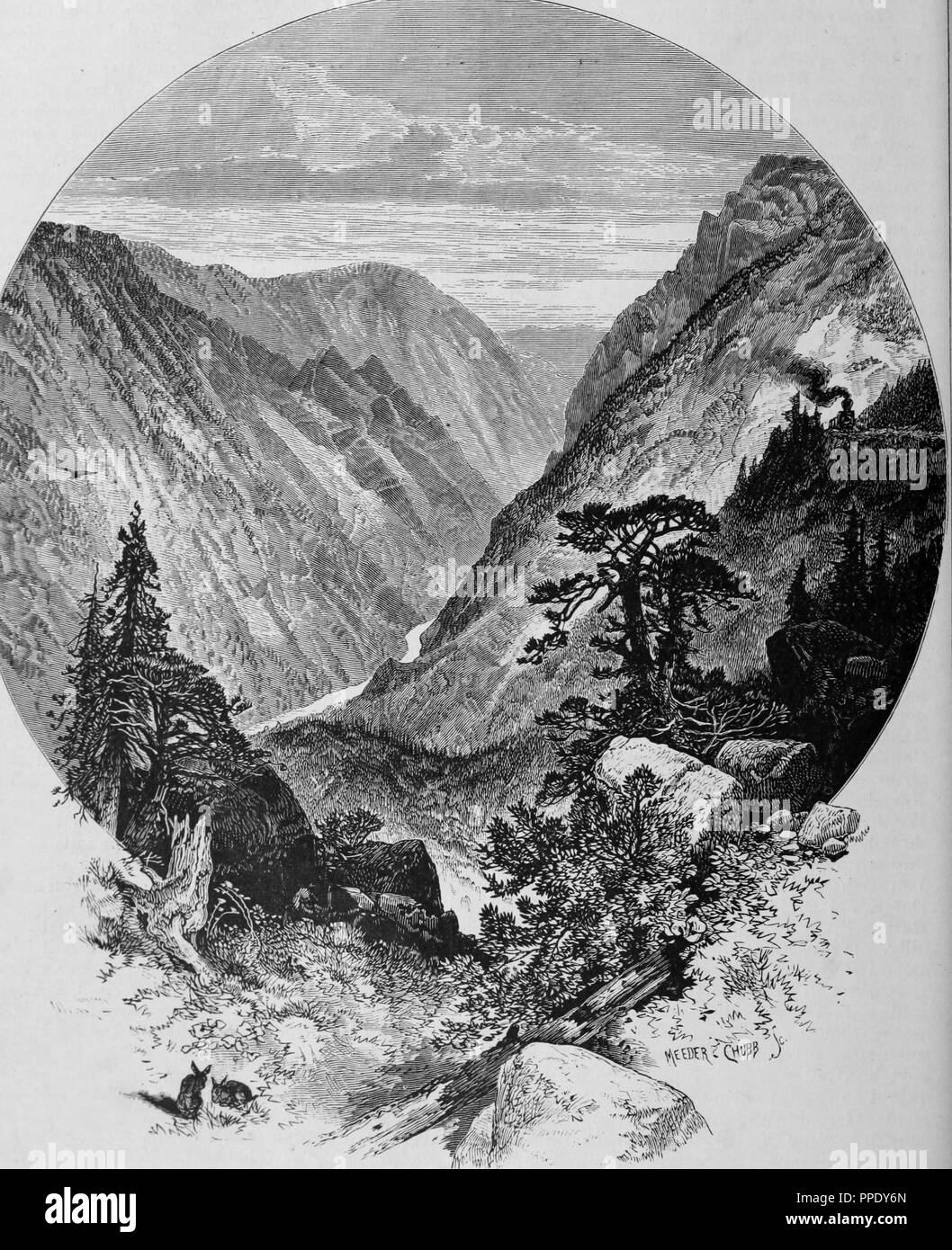 """Incisione del gigante il gap in American River Canyon, dal libro """"Pacifico turisti"""", 1877. La cortesia Internet Archive. () Immagini Stock"""