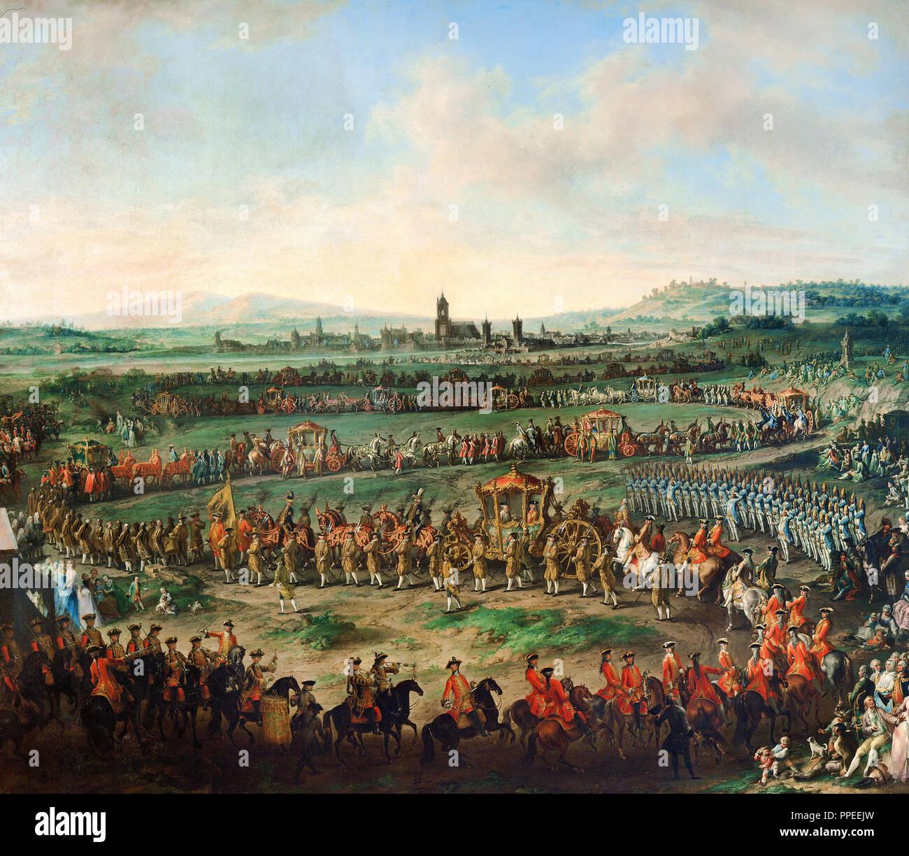 Johann von Dallinger Dalling - Ingresso dell'imperatore Francesco I. Stephan e suo figlio Giuseppe (II) in Francoforte sul Meno, il 29 marzo 1764. Circa 1766-1767. Oi Immagini Stock