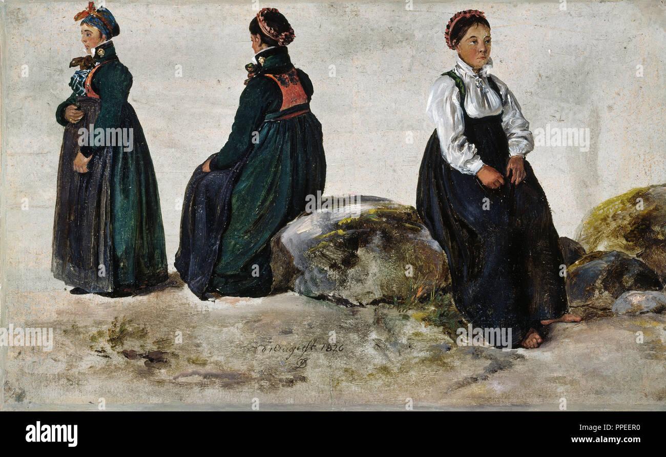 Johan Christian Dahl - Studi di costumi femminili dalla lucentezza in Sogn 1826 Olio su carta. Galleria Nazionale di Norvegia, Oslo, Norvegia. Immagini Stock