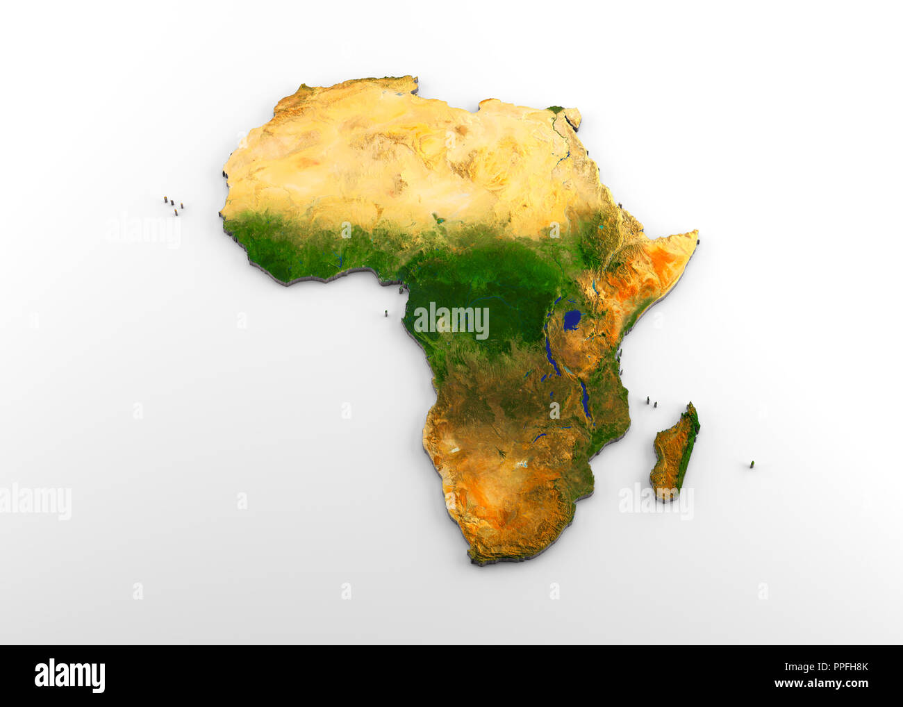 Cartina Geografica Dell Africa Fisica.3d Rendering Di Estrusi Ad Alta Risoluzione Mappa Fisica Con Rilievo Del Continente Africano Isolato Su Sfondo Bianco Foto Stock Alamy