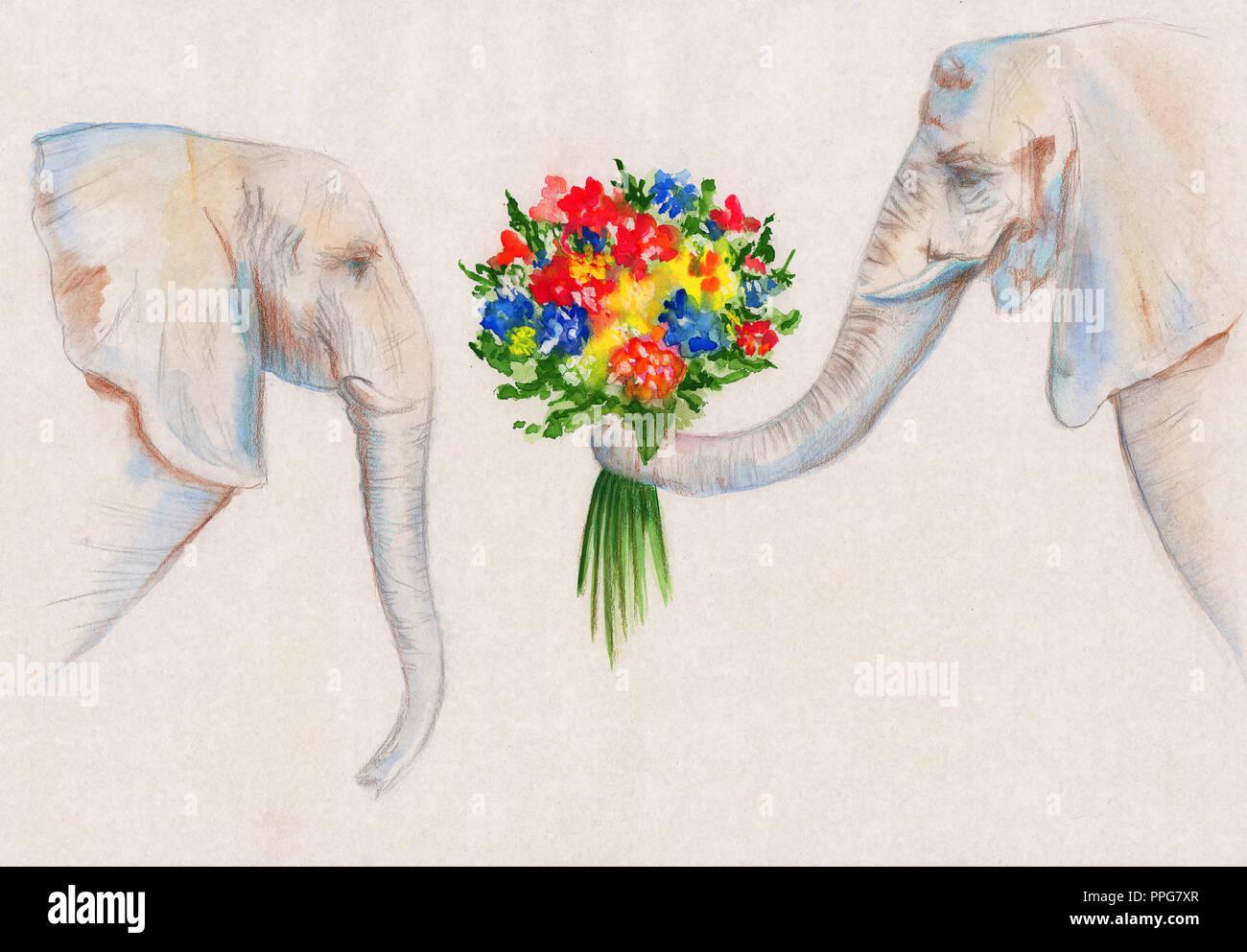 Illustrazione Del Disegno Colorato Matite Ad Acquarello Un Elefante