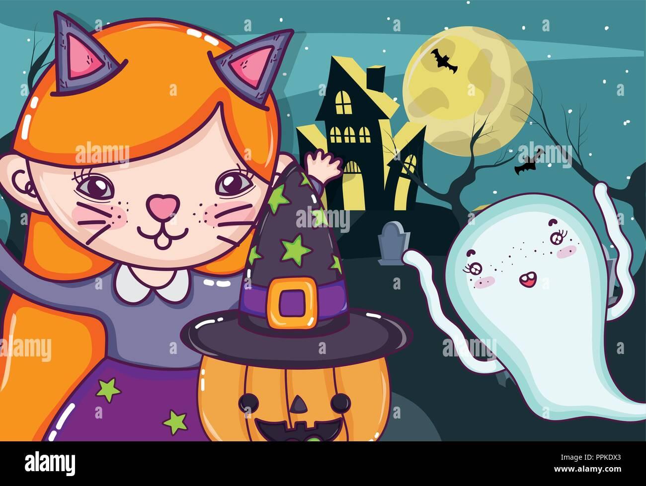 Halloween cartoni animati per bambini illustrazione vettoriale