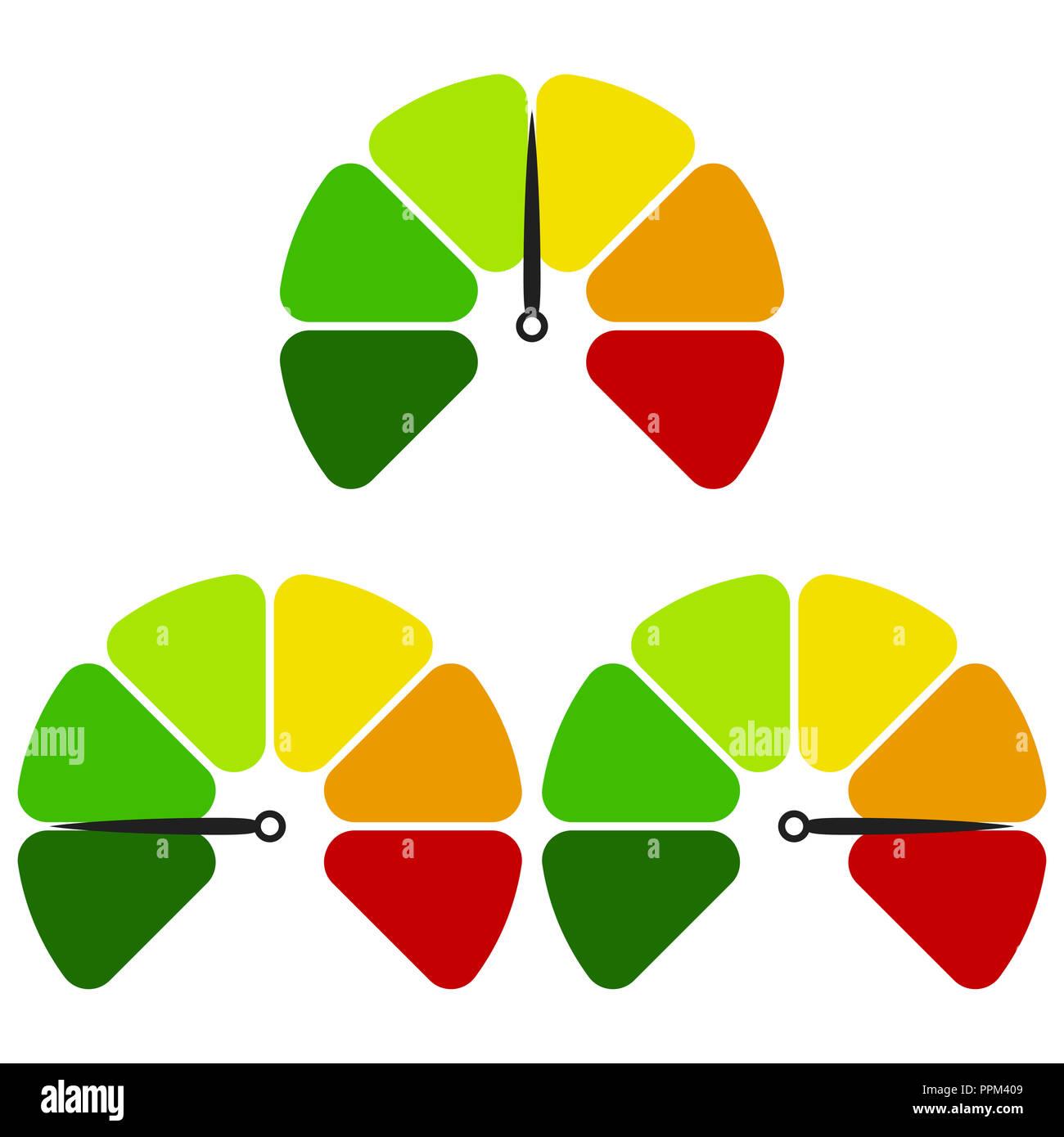 Tachimetro icona piatta. Segno colorato tachimetro. Logo vettoriali per il web design, mobile e infographics. Illustrazione Vettoriale eps10. Isolato su bianco ba Immagini Stock
