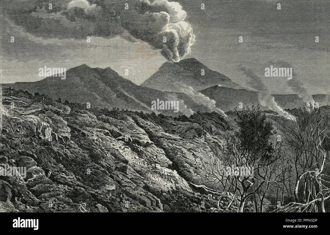 Bordo della corrente di lava emersa dal Vesuvio nel 1872. Foto Stock