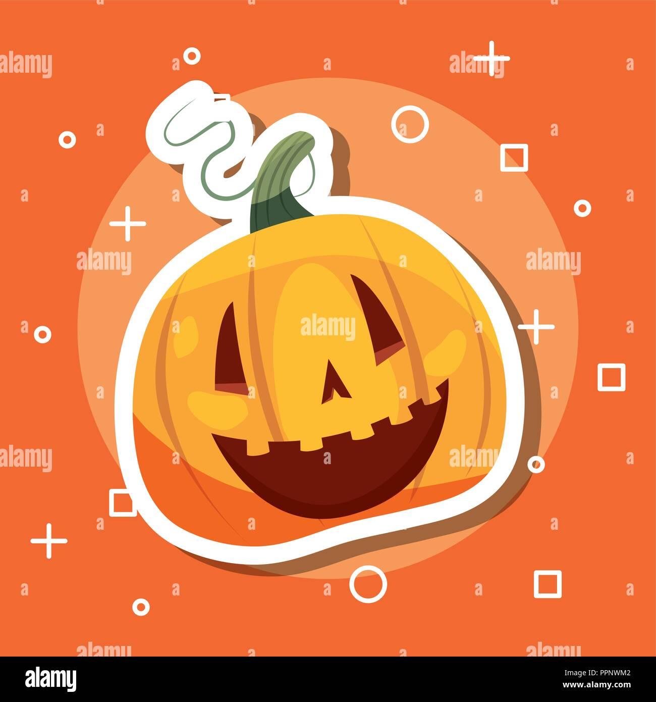 Festa di halloween giorno simboli zucca sorridente illustrazione vettoriale Illustrazione Vettoriale