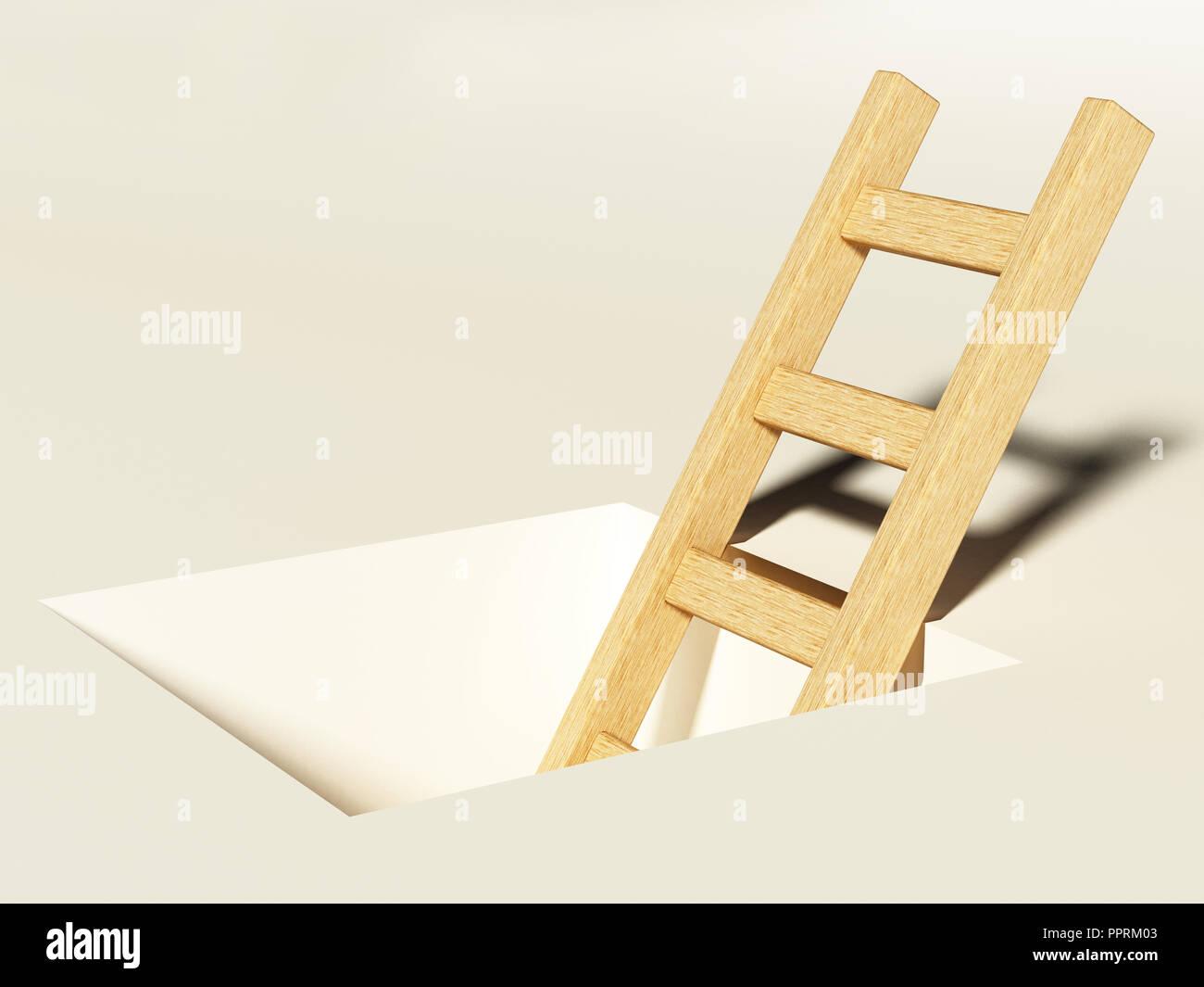 Scaletta in legno che si eleva al di sopra del foro quadrato sul terreno. Immagini Stock