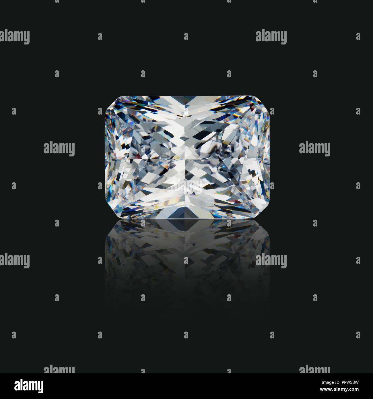 Taglio smeraldo radiante gemma di Diamante Gem Immagini Stock