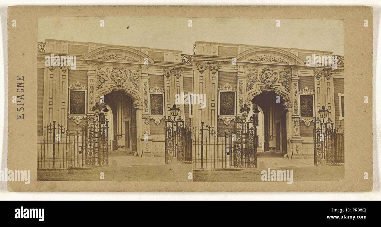 Facciata du Palais Saint-Elme. Abitazione du Duc de Montpensier, a Siviglia; spagnolo; circa 1860; albume silver stampa Immagini Stock