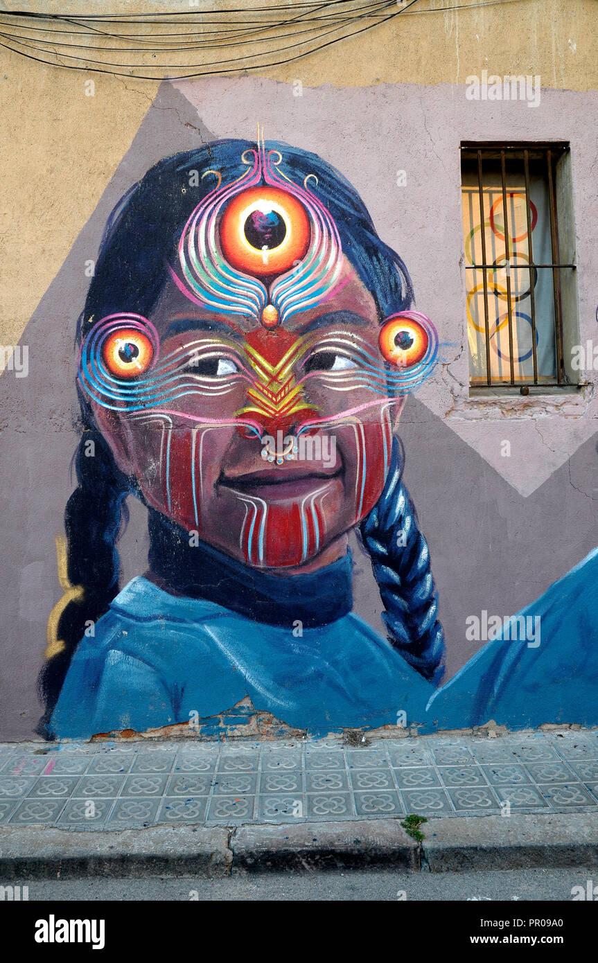 Grafitti da Gleo, Fernando Poo street, Poble Nou, arte urbana ,streetarts, Barcellona, Spagna Immagini Stock
