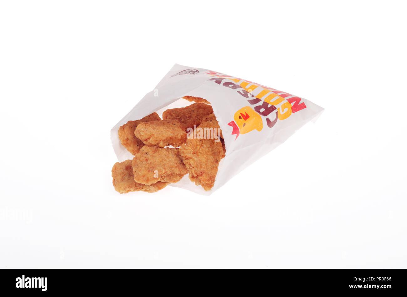 Pacchetto di Burger King pepite di pollo Immagini Stock