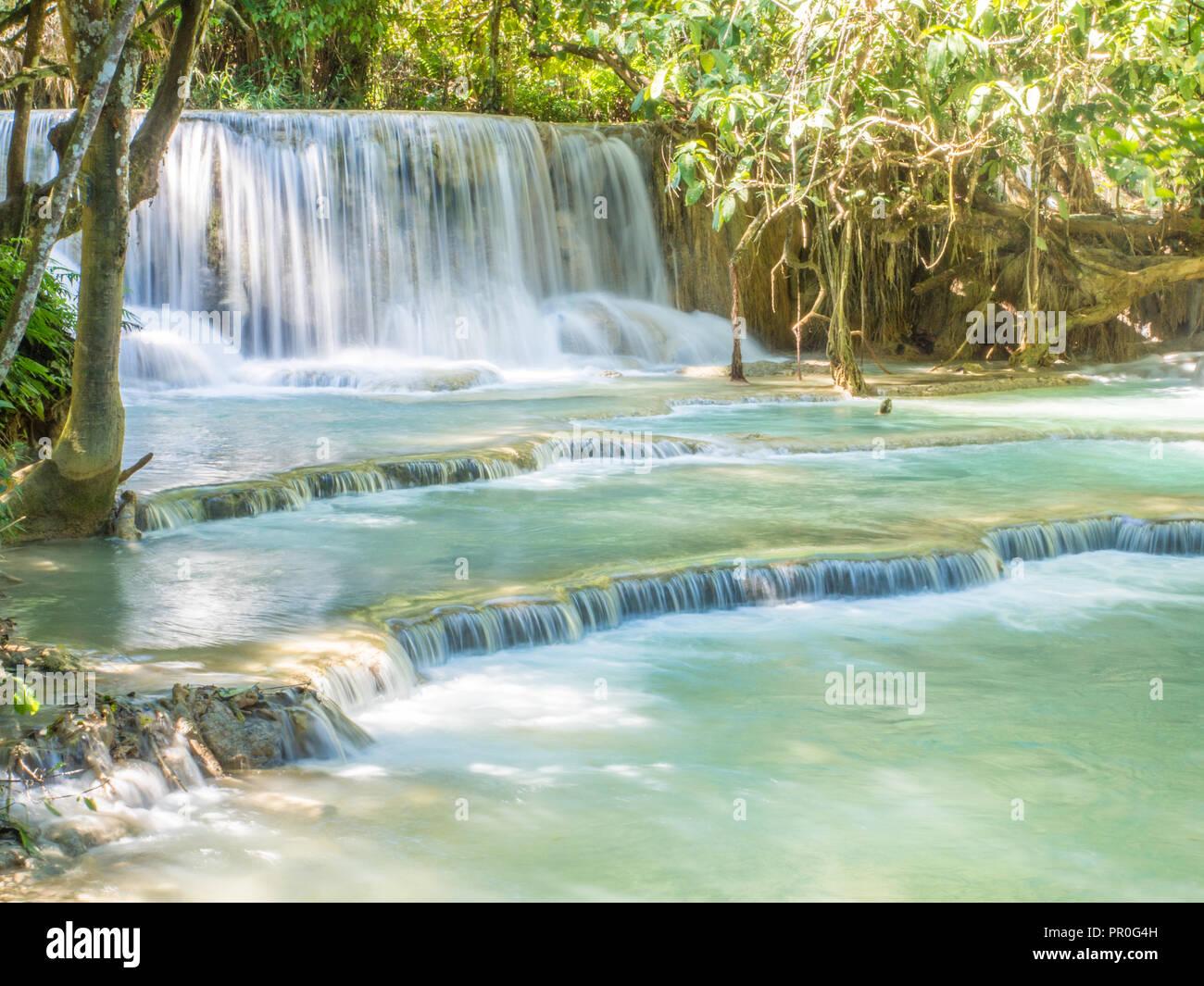 Keang Si cascata, Luang Prabang, Laos, Indocina, Asia sud-orientale, Asia Immagini Stock
