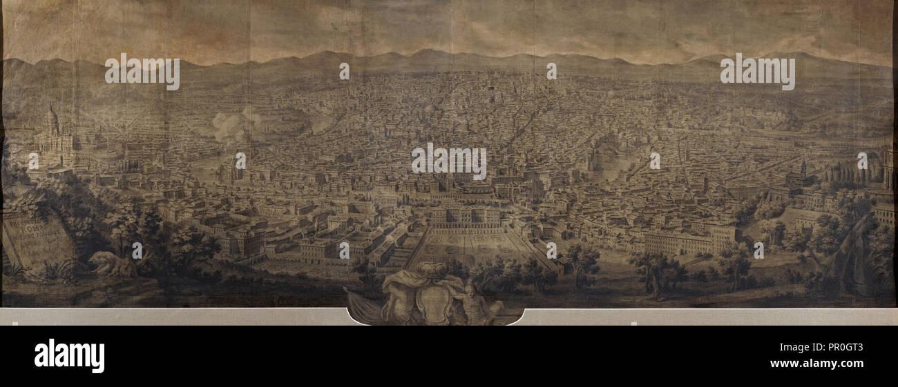 Prospetto di Roma verso ponente, Vasi, Giuseppe, 1710-1782, gesso nero e l'inchiostro nero o acquerello su carta, tela supporto Immagini Stock