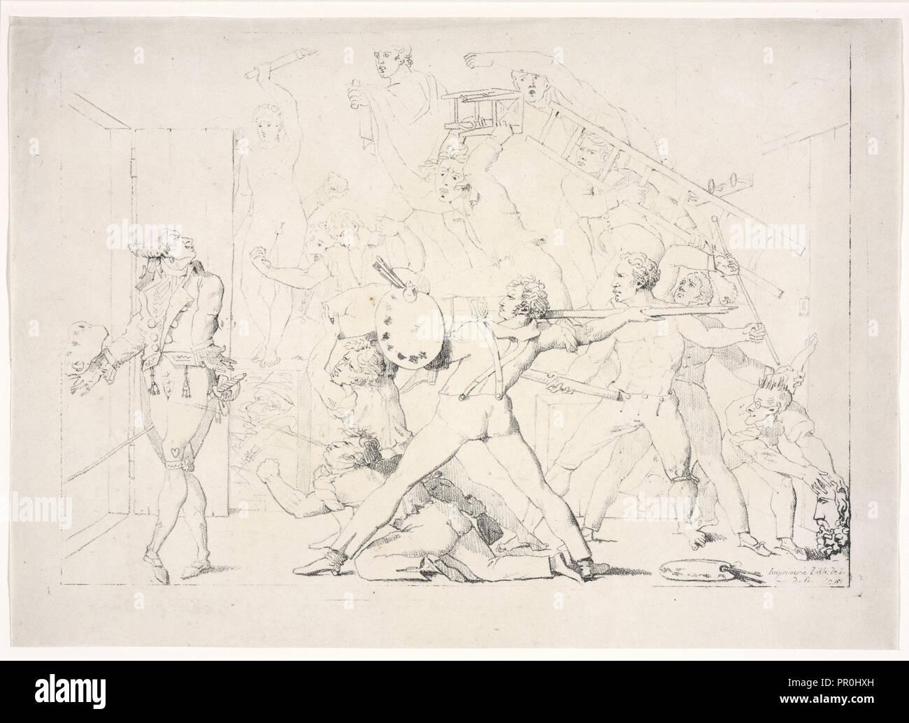 Atelier de David, litografia, in bianco e nero, secolo XIX Immagini Stock