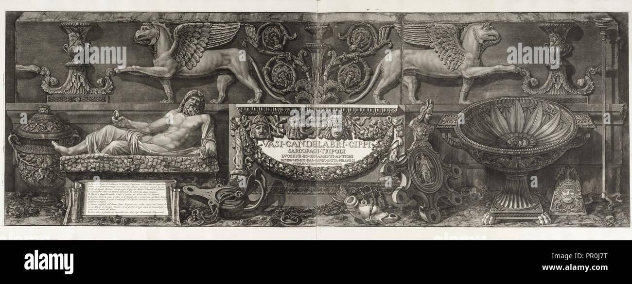 Pagina titolo, vasi, candelabri, cippi, sarcofagi, tripodi, Lucerna ed ornamenti antichi, Piranesi Giovanni Battista, 1720-1778 Immagini Stock