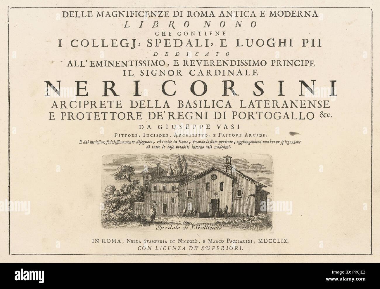 Frontespizio, volume delle magnificenze di Roma antica e moderna, Vasi, Giuseppe, 1710-1782, incisione, tra 1747 e 1761 Immagini Stock