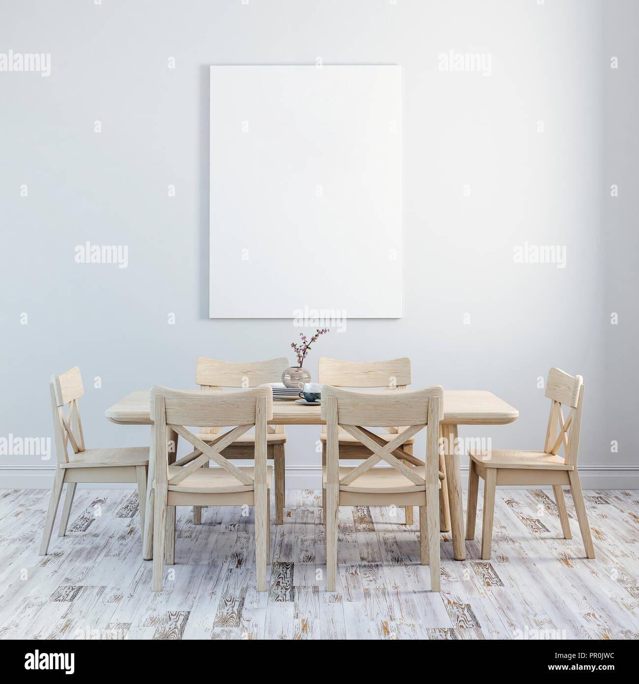 3d Render Di Interni Puliti In Legno Con Tavolo E Sedie Foto Stock Alamy