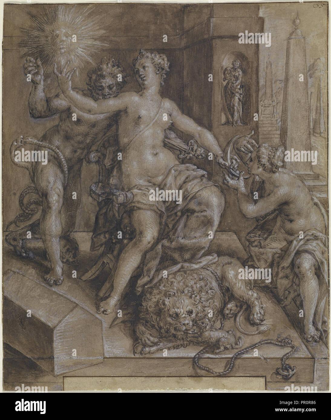 Design per la sezione centrale dello specchio della virtù; Cornelis Ketel, Olandese, 1548 - 1616, Paesi Bassi; circa 1594; Penna Immagini Stock