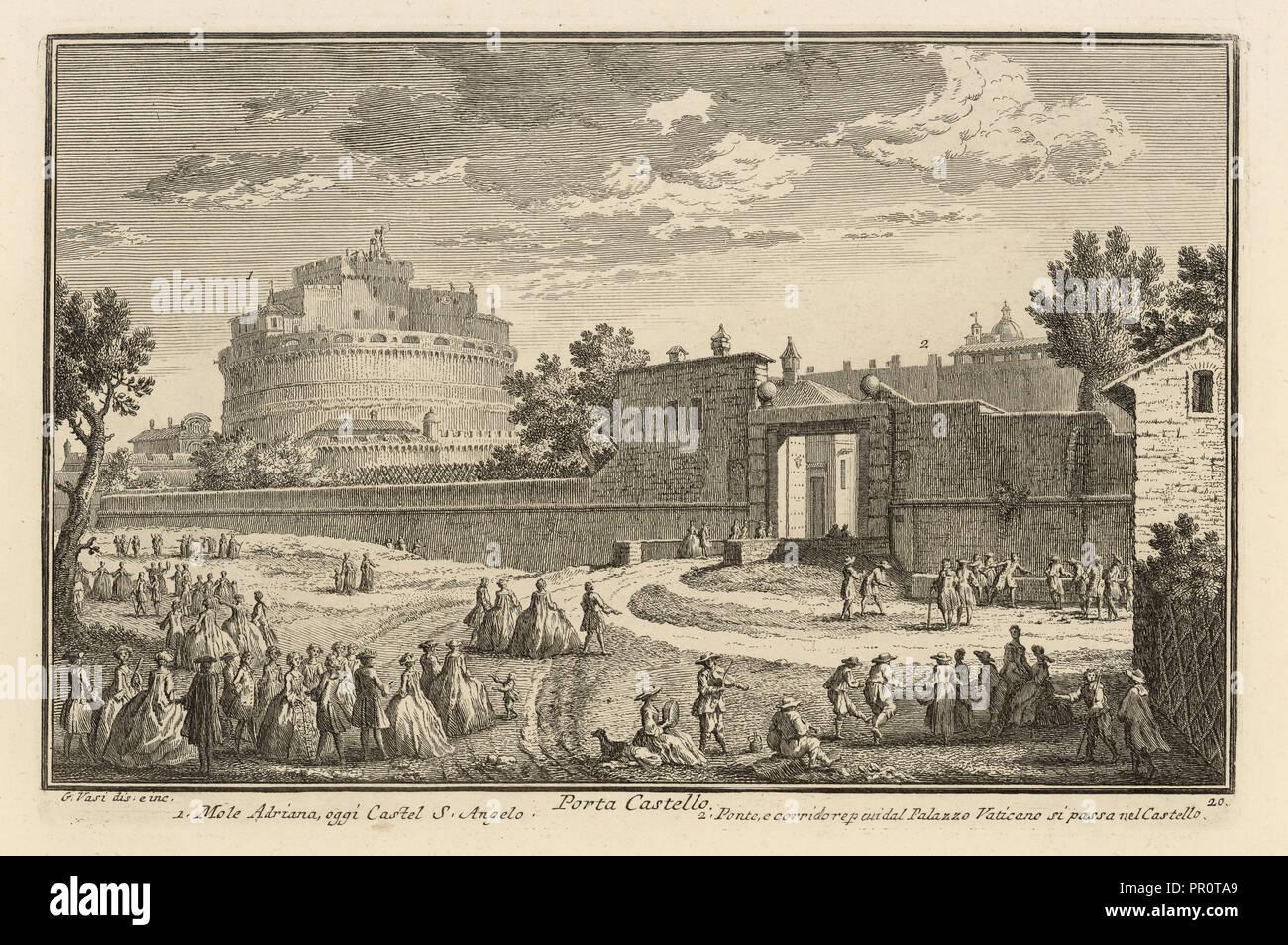 Porta Castello, Delle magnificenze di Roma antica e moderna, Vasi, Giuseppe, 1710-1782, incisione, 1747-1761 Immagini Stock