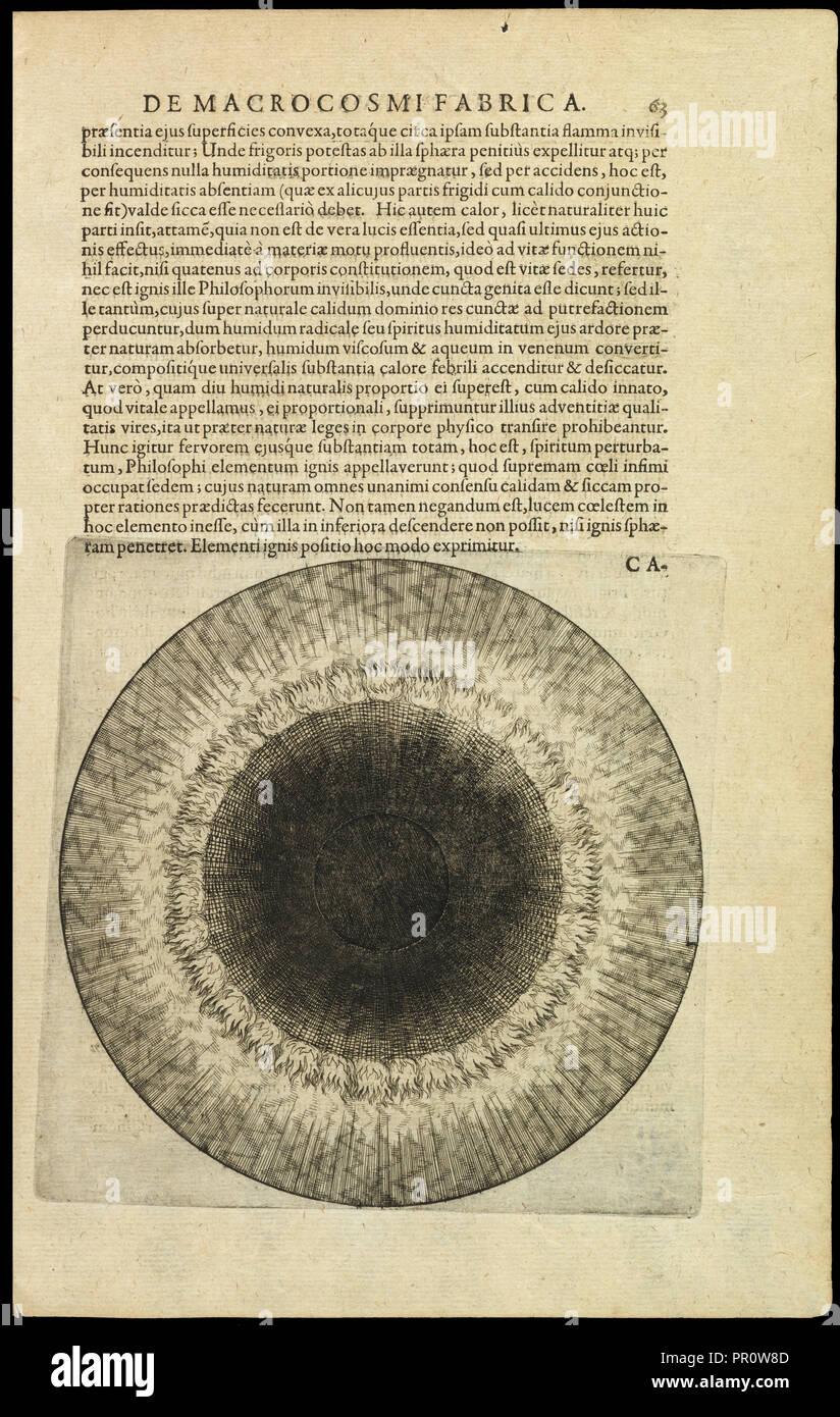 De elemento ignis, Utriusque cosmi maioris scilicet et minoris metaphysica, physica atqve technica historia, Fludd, Robert, 1574 Immagini Stock