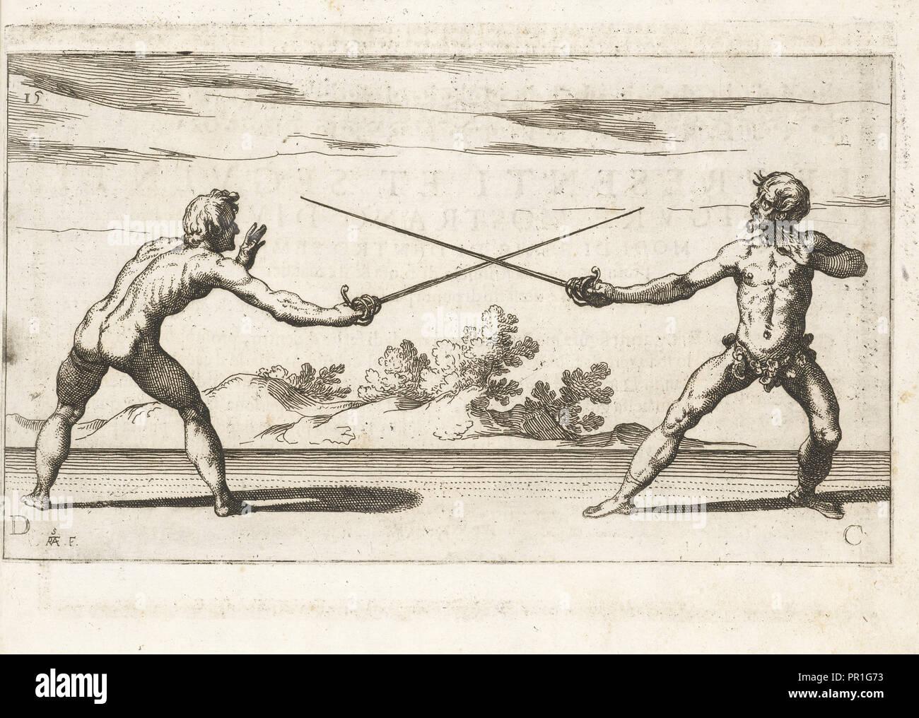 Doppio modo di guadagnar la spada dell'adversario di dentro e di fuora, Gran simulacro dell'arte e dell'uso della scherma Immagini Stock