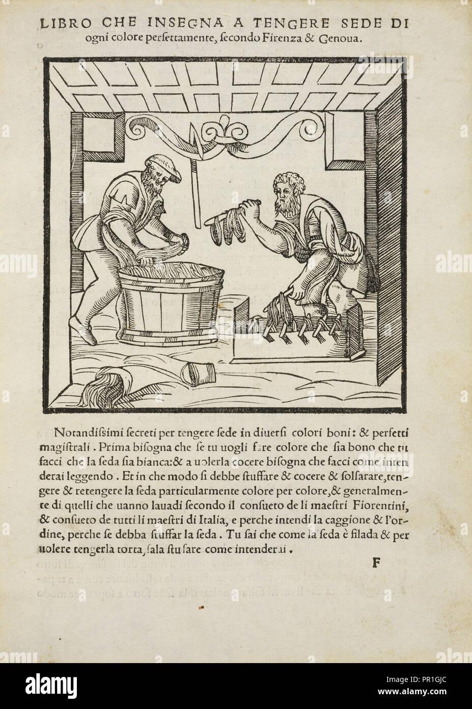 Libro che insegna un tengere sede di ogni colore perfettamente, secondo Firenza e Genova, Plictho de larte de tentori Immagini Stock