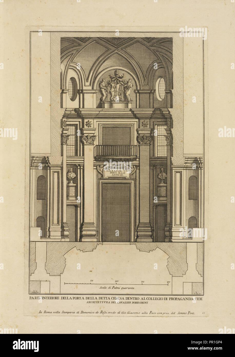 Parte interiore della porta della detta chiesa dentro al Collegio di Propaganda Fide, Stvdio d'architettvra civile sopra Immagini Stock