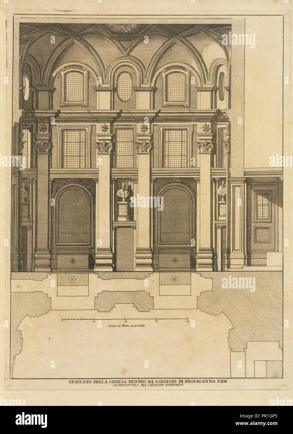 Spaccato della chiesa dentro al Collegio di Propaganda Fide, Stvdio d'architettvra civile sopra gli ornamenti di porte Immagini Stock