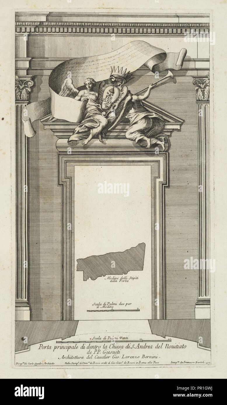 La porta principale di dentro la chiesa di S. Andrea del Nouitiato de PP. Giesuiti, Stvdio d'architettvra civile sopra Immagini Stock