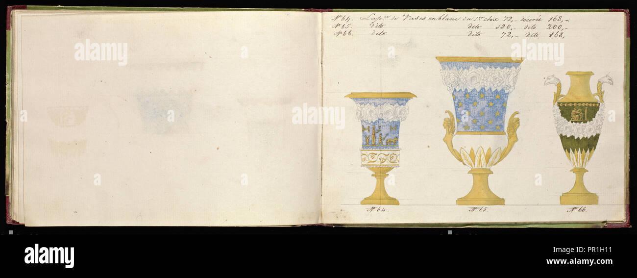Honoré porcellana catalogo campione, Honoré, ditta, secolo XIX, acquerello, gouache, inchiostro, grafite, ca. 1800-1820, il manoscritto Immagini Stock