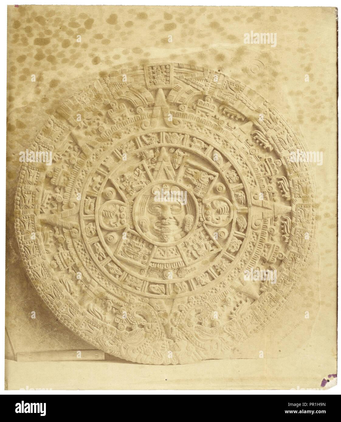 Abadiano il cast del Calendario azteco pietra, Estudio arqueológico y jeroglífico del Calendario ó gran libro astronómico Immagini Stock