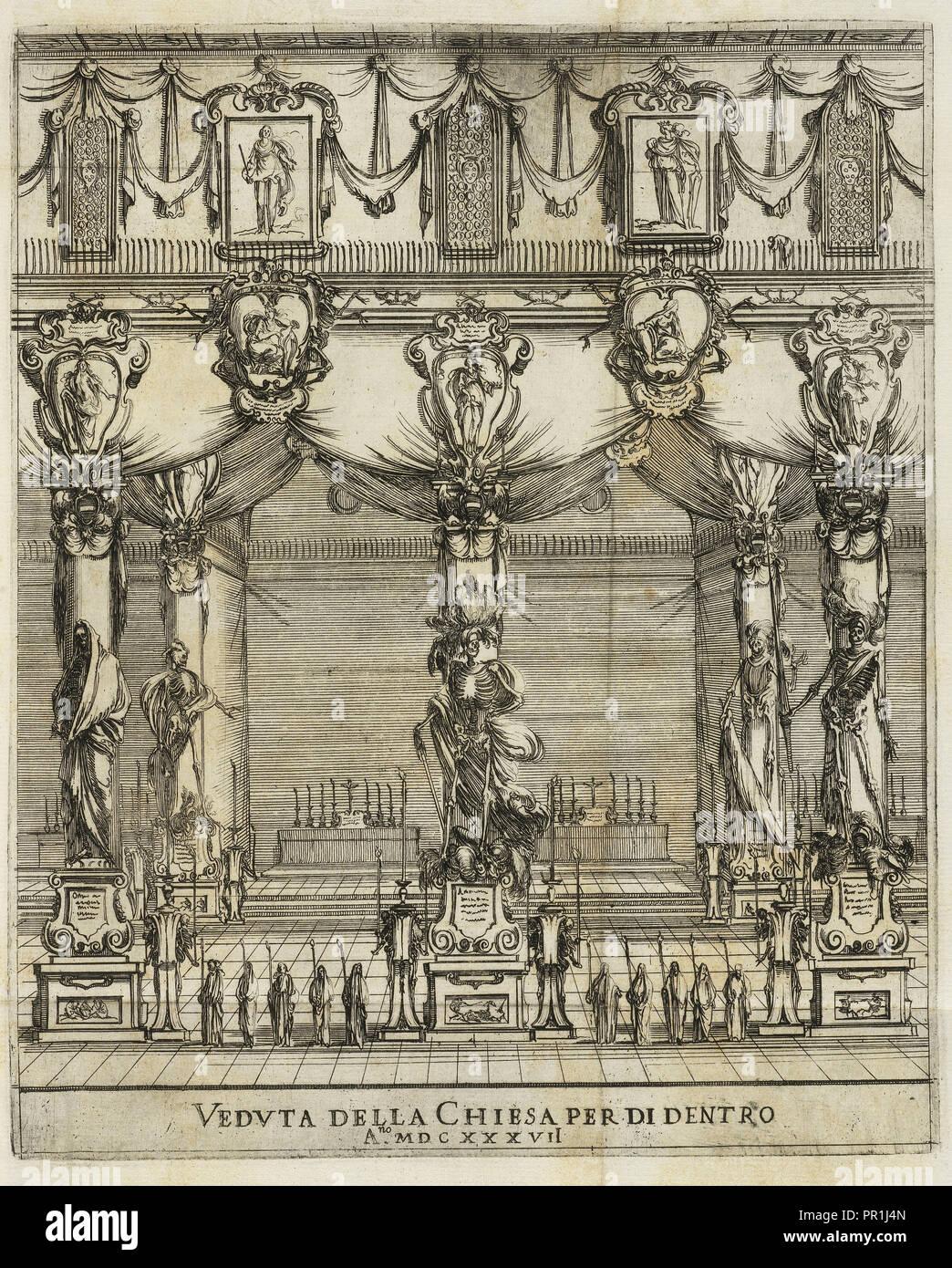Vedvta della chiesa al di dentro un.no MDCXXXVII, Eseqvie della Maestà Cesarea dell'imperadore Ferdinando II, della Bella Immagini Stock