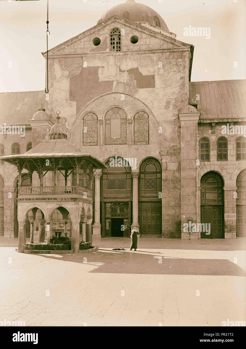 Damasco. La Moschea Ommayad. Facciata della moschea colonnato attraverso una più stretta fino, sezione centrale. 1940, in Siria, a Damasco Immagini Stock