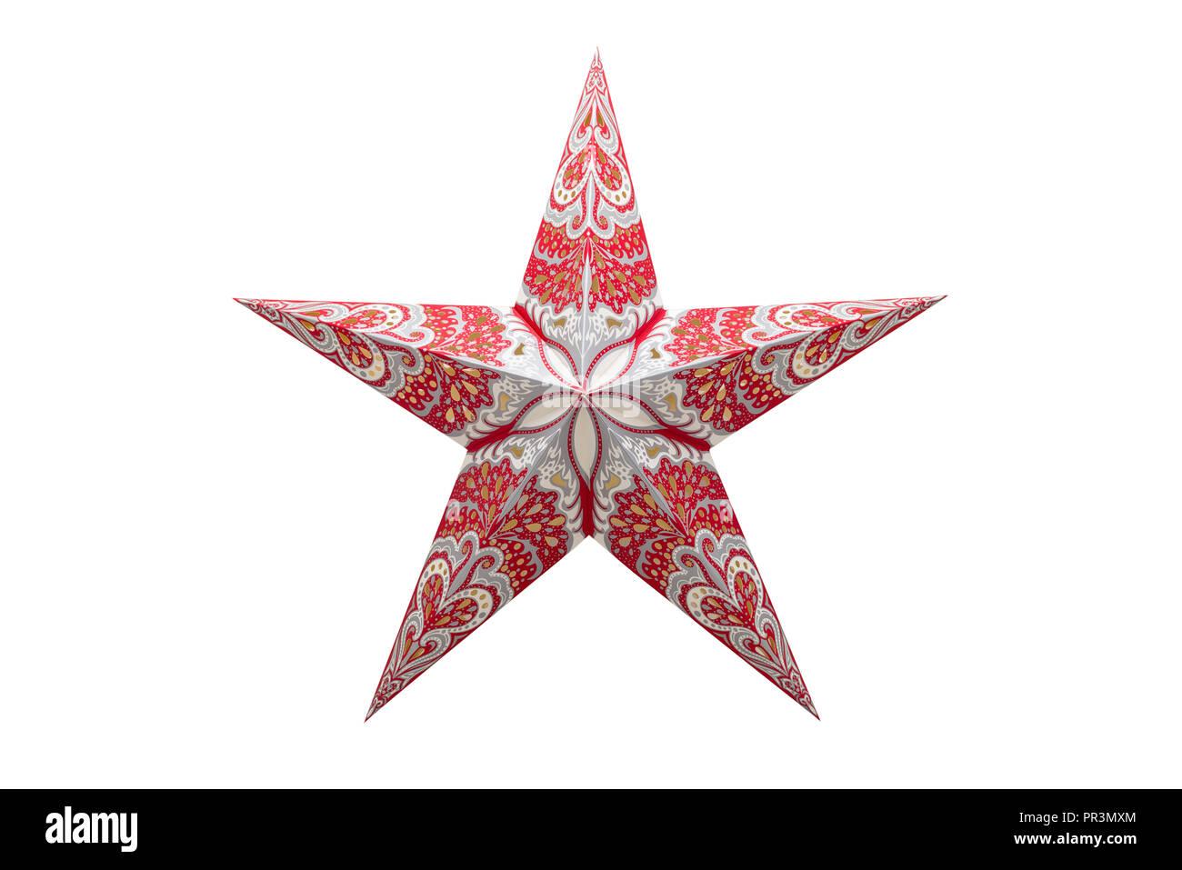 Stella Di Natale A 5 Punte.Decorazione Per Albero Di Natale Rosso Bianco Stella A Cinque Punte