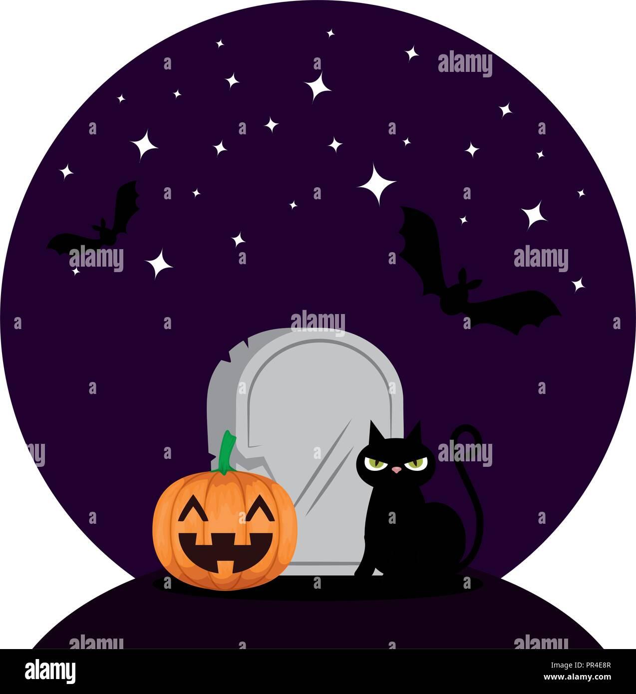 Zucca Halloween Gatto.Halloween Gatto Nero Con Zucca Nella Notte Illustrazione Vettoriale