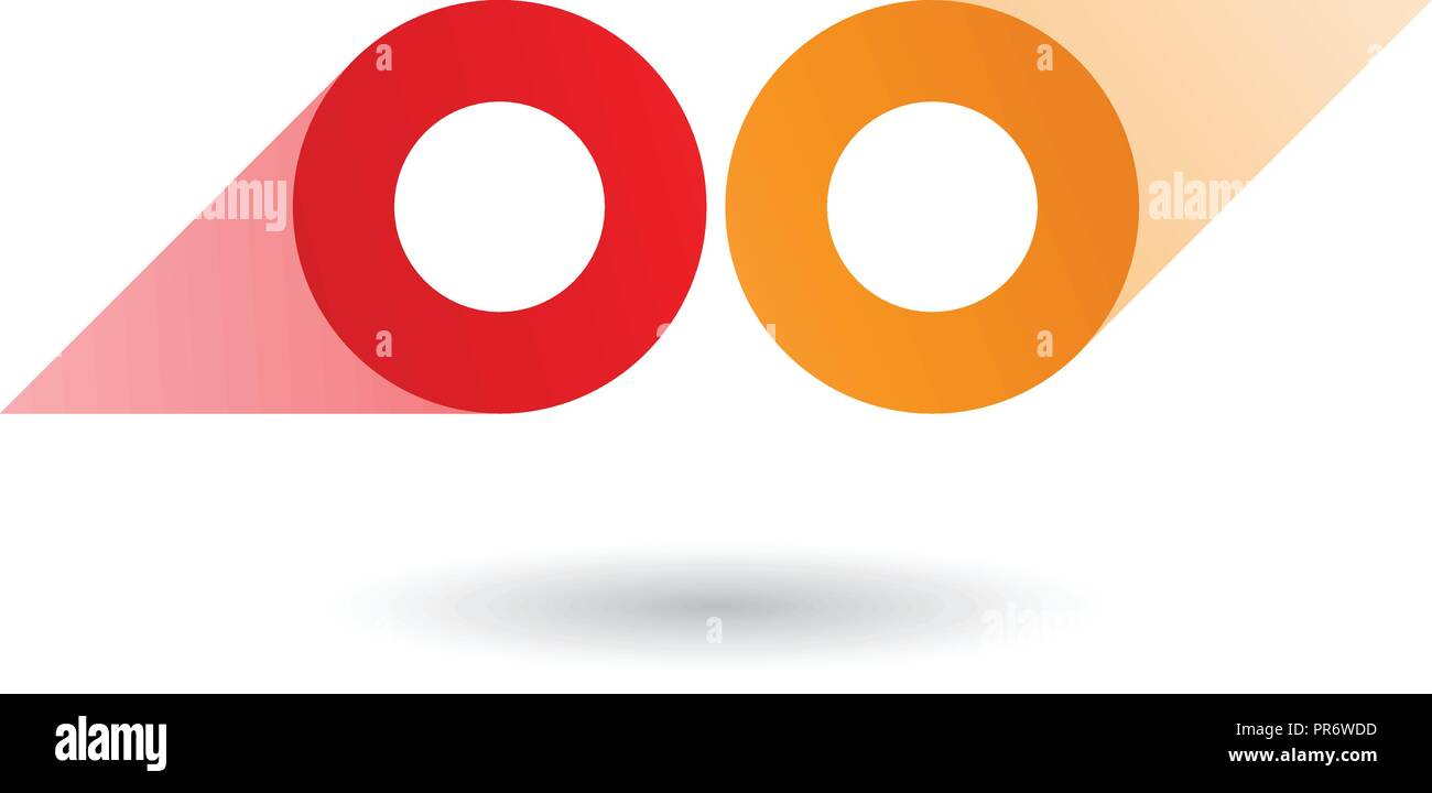 Illustrazione Vettoriale di rosso e arancione a forma di binocolo Round  Icona isolato su uno sfondo 65490103801