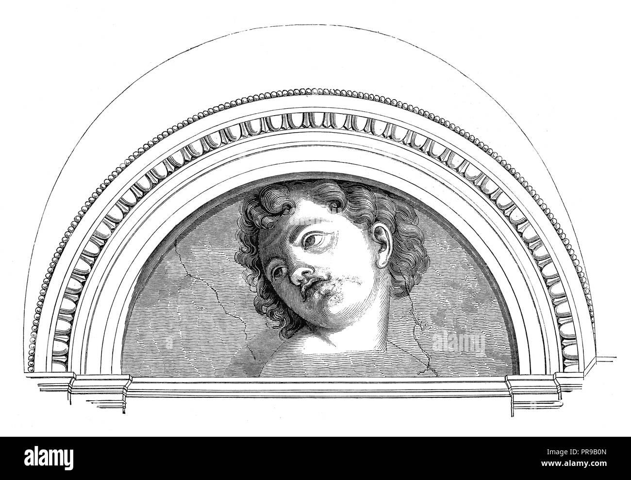 Xix secolo illustrazione di una testa disegnata da Michelangelo in Farnesina. Illustrazione originale pubblicato in Le magasin pittoresco da M. A. Lachevardiere, P Immagini Stock