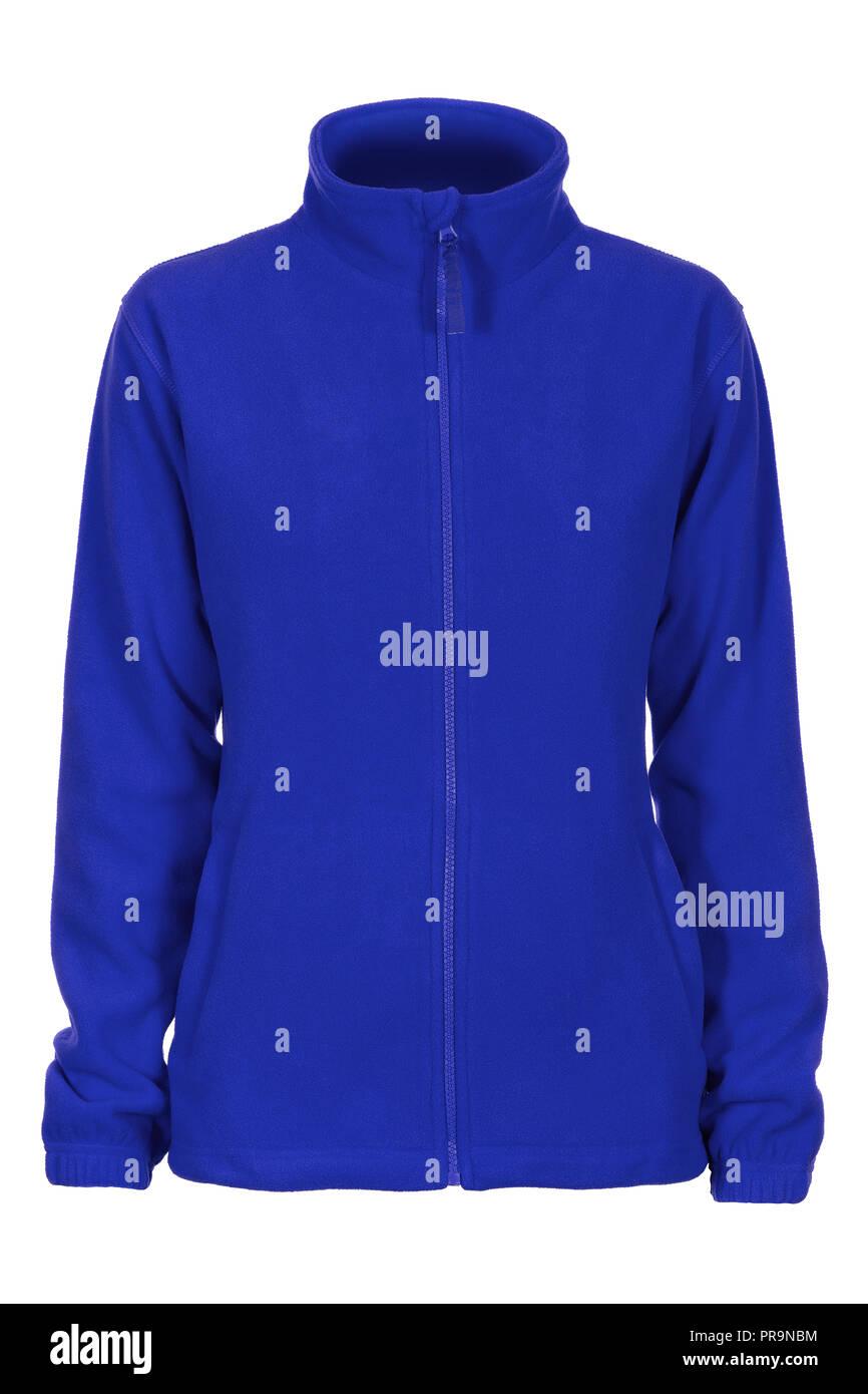 Felpa blu Felpa da donna isolato su sfondo bianco Immagini Stock
