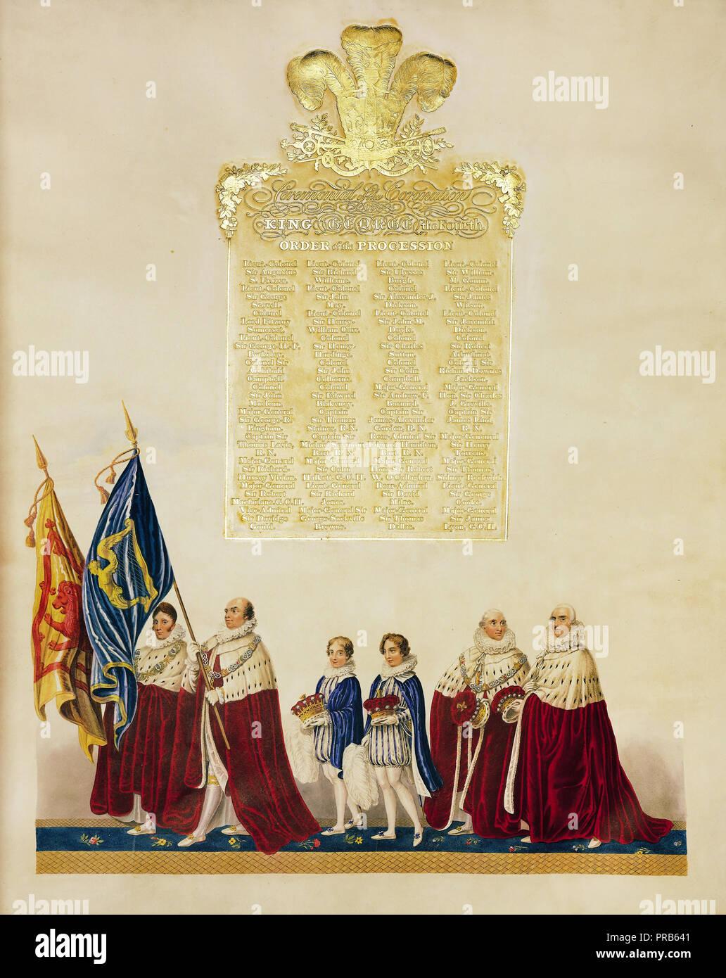John Whittaker, cerimoniale di incoronazione del re George IV 1823 stampato sul Giappone vellum, Collezione Reale del Regno Unito. Immagini Stock