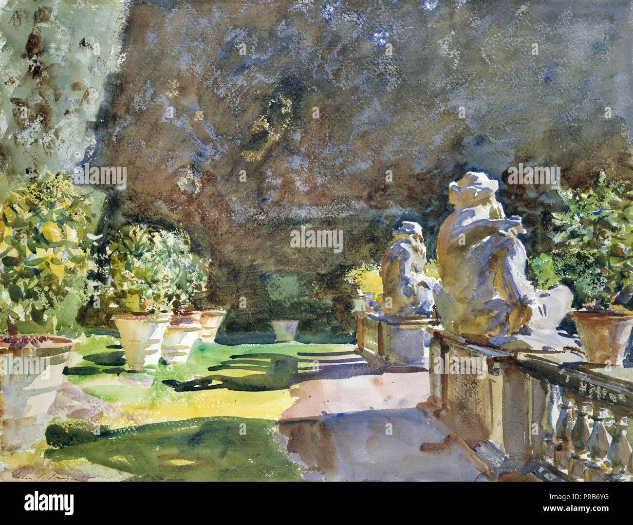 John Singer Sargent, Villa di Marlia, Lucca 1910 Watercol, il Museo delle Belle Arti di Boston, Stati Uniti d'America. Immagini Stock
